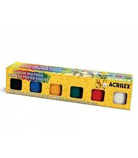 SET TÉMPERA GOUACHE ACRILEX  6 COLORES x 30 ML