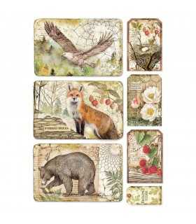 PAPEL ARROZ A4 STAMPERIA 21x29 CM FOREST ANIMALES