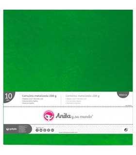 Cartulina metalizada Verde  30x30 CM 230 GSM 10 UD