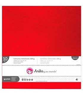 Cartulina metalizada Rojo 30x30 CM 230 GSM 10 UD