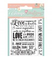 SELLO ACRILICO STAMPERIA 95x105 LOVE NEVER FAILS