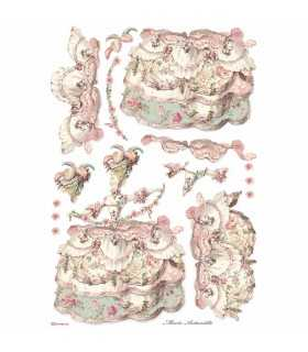 PAPEL ARROZ STAMPERIA A3 29x42CM LADY PINK