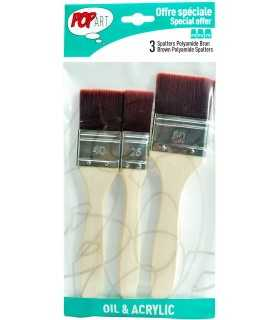 SET 3 BROCHAS POLIAMIDA MARRON PEBEO 950551