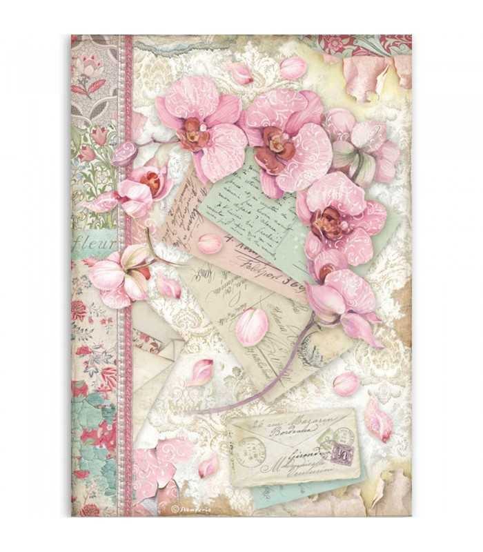PAPEL ARROZ A4 STAMPERIA 21x29 CM PINK ORCHID