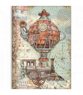 PAPEL ARROZ A4 STAMPERIA 21x29 CM VINTAGE TRAVEL