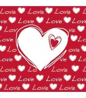 SERVILLETAS AMBIENTE 33x33cm 20 UD LOVE HEART RED