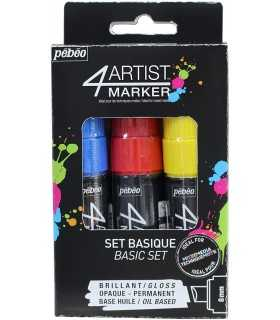 SET 4ARTIST MARKER PEBEO 8 MM 3 COLORES BASICOS