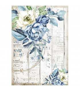 PAPEL ARROZ A4 STAMPERIA 21x29 CM BLUE FLOWER