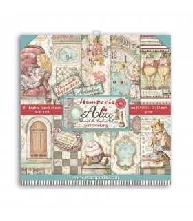 PAPELES SCRAP 10ud 12x12 ALICE THROUGH THE LOOKING