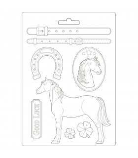 MOLDE FLEXIBLE PVC STAMPERIA 21x29 CM HORSES