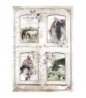 PAPEL ARROZ A4 STAMPERIA 21x29 CM HORSES FRAMES