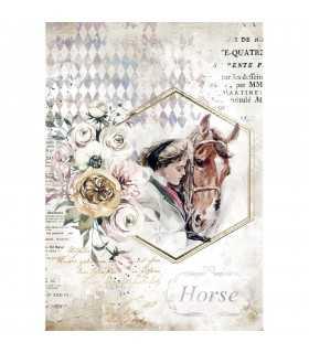 PAPEL ARROZ A4 STAMPERIA 21x29 CM HORSES LADY