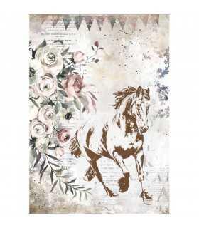 PAPEL ARROZ A4 STAMPERIA 21x29 CM RUNNING HORSE