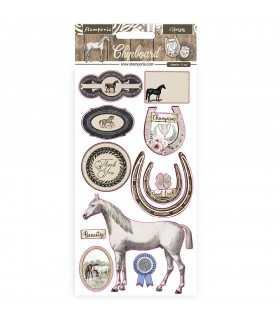 CHIPBOARD 15X30CM ROMANTIC HORSES 11 PIEZAS