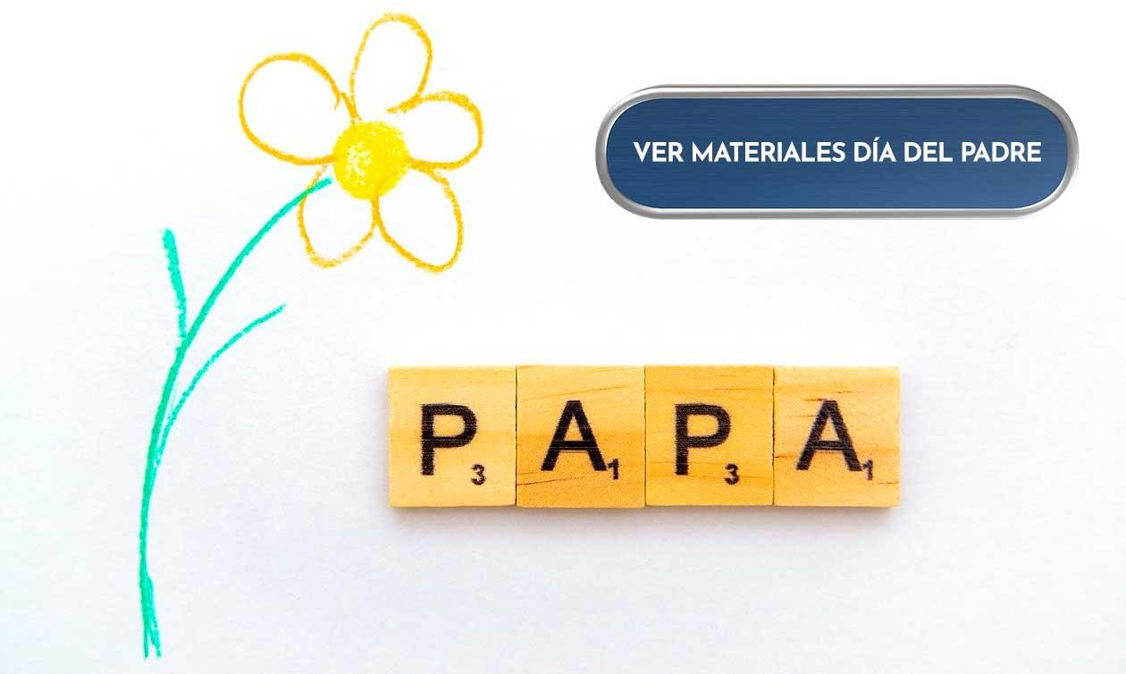;Materiales día del padre: papeles, soportes, accesorios.